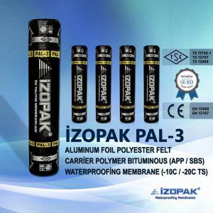 İzopak Pal-3 Alumınum Foıl Polyester Felt Carrier Polymer Bıtumınous (App / Sbs) Waterproofing Membrane (-10c / -20c Ts)