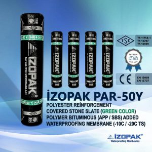 İzopak Par-50y Polyester Reinforcement Covered Stone Slate (Green Color) Polymer Bıtumınous (App / Sbs) Added Waterproofing Membrane (-10c / -20c Ts)