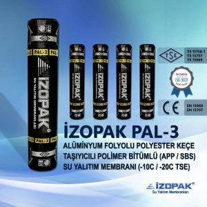 İzopak Pal-3 Alüminyum Folyolu Polyester Keçe Taşıyıcılı Polimer Bitümlü (App / Sbs) Su Yalıtım Membranı (-10c / -20c Tse)