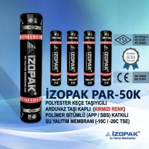 İzopak Par-50k Polyester Keçe Taşıyıcılı Arduvaz Taşı Kaplı (Kırmızı Renk) Polimer Bitümlü (App / Sbs) Katkılı Su Yalıtım Membranı (-10c / -20c Tse)